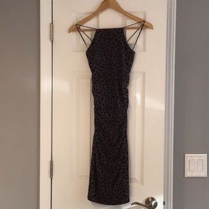 LEITH BODYCON  RUCHED LEOPARD DRESS NWT SMALL